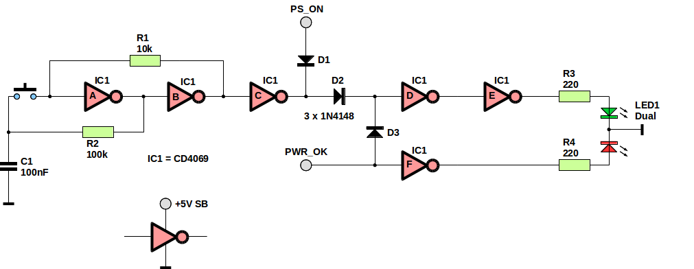 Schematic of the ATX PSU start circuit