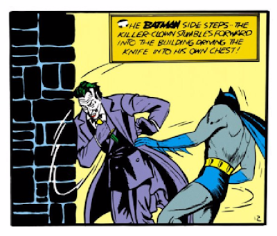 Batman (1940) #1 Page 52 Panel 5: Batman manages to make The Joker stab himself somehow.