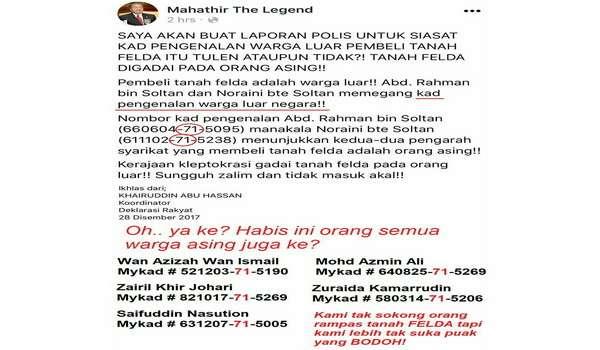 Macai Mahathir Kata Kod Negeri '71' Dalam Kad Pengenalan Adalah Warga Asing, Termasuk Pemimpin Tertinggi PH