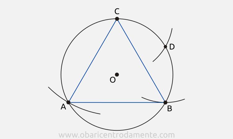 Construção de triângulos equiláteros com régua e compasso a partir da circunferência circunscrita