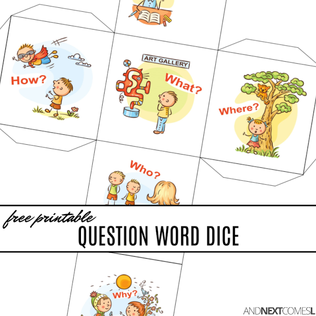 Free printable WH question words dice