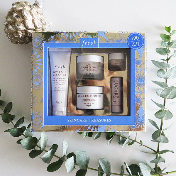 Fresh Skincare Treasures boxed holiday 2016 gift set featuring: Soy Face Cleanser, Lotus Youth Preserve Face Cream with Super 7 Complex, Sugar Face Polish, Sugar Rose Lip Balm, Lotus Youth Preserve Eye Cream