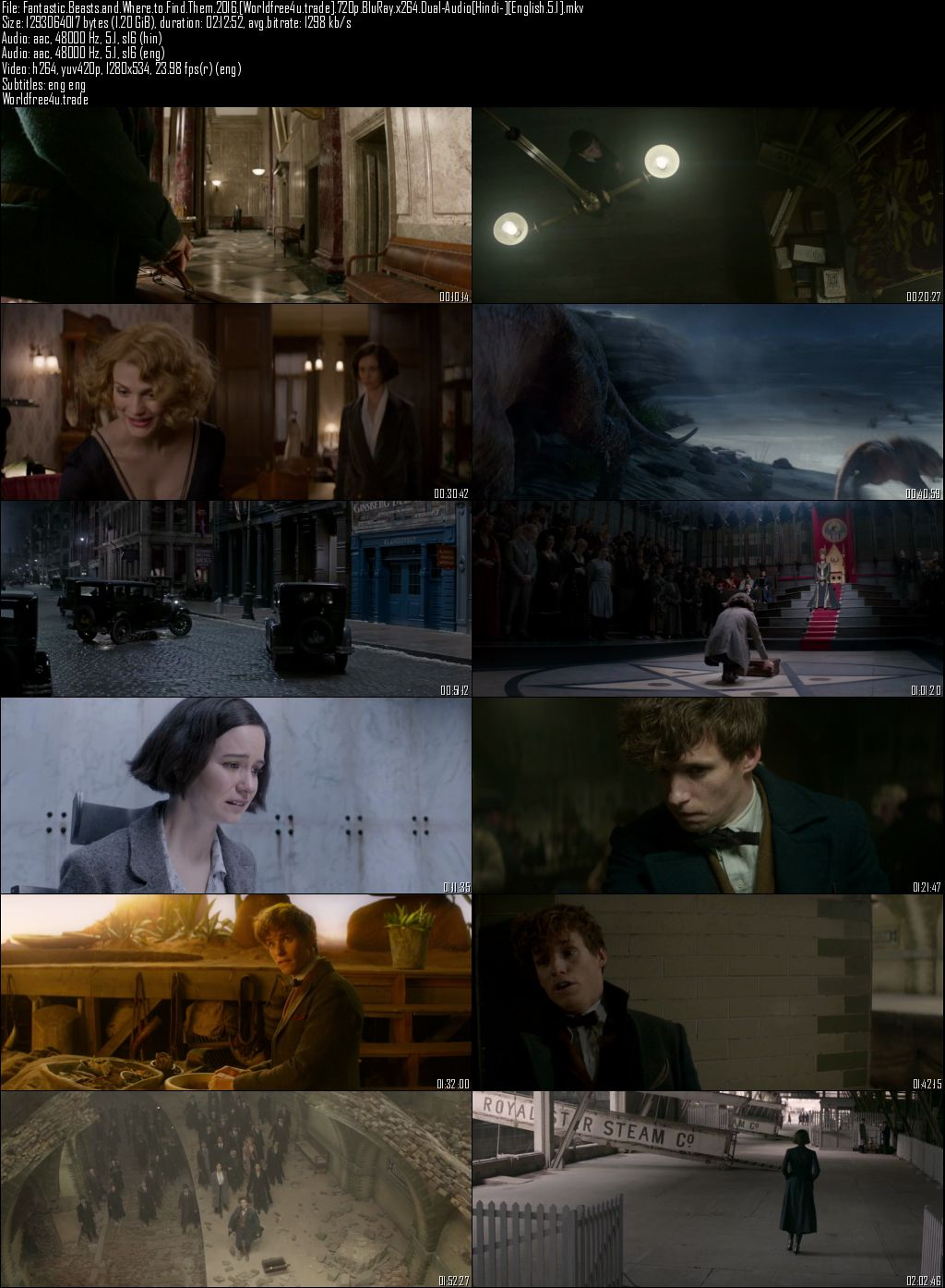 Fantastic Beasts and Where to Find Them 2016 BRRip 720p Dual Audio Hindi Bluray Free Download in Hindi