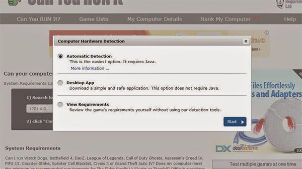 موقع لفحص مواصفات جهازك ومعرفة قدرته على تشغيل الألعاب قبل