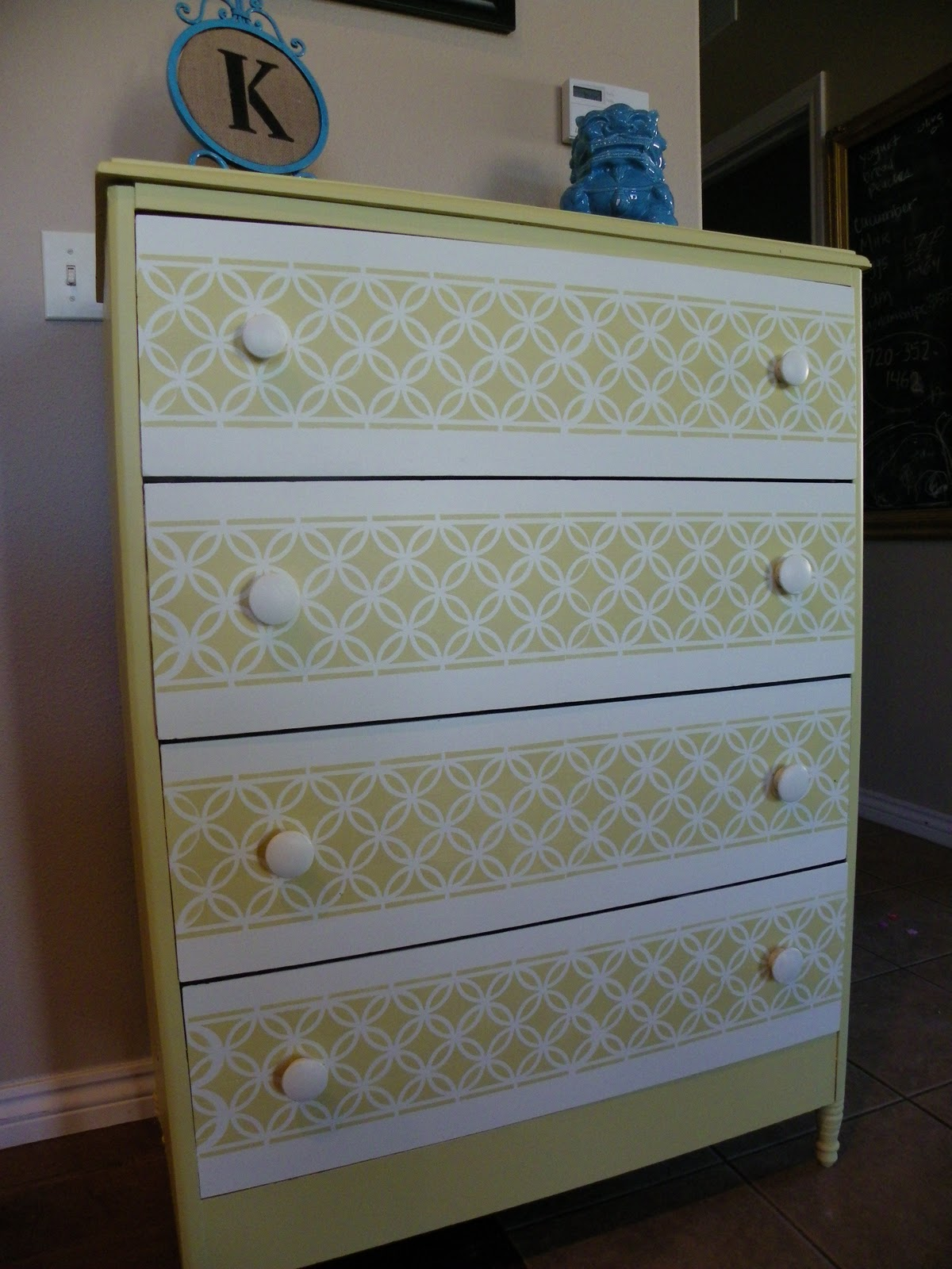 Remodelaholic | Painted Dresser With Fun Stencil Pattern