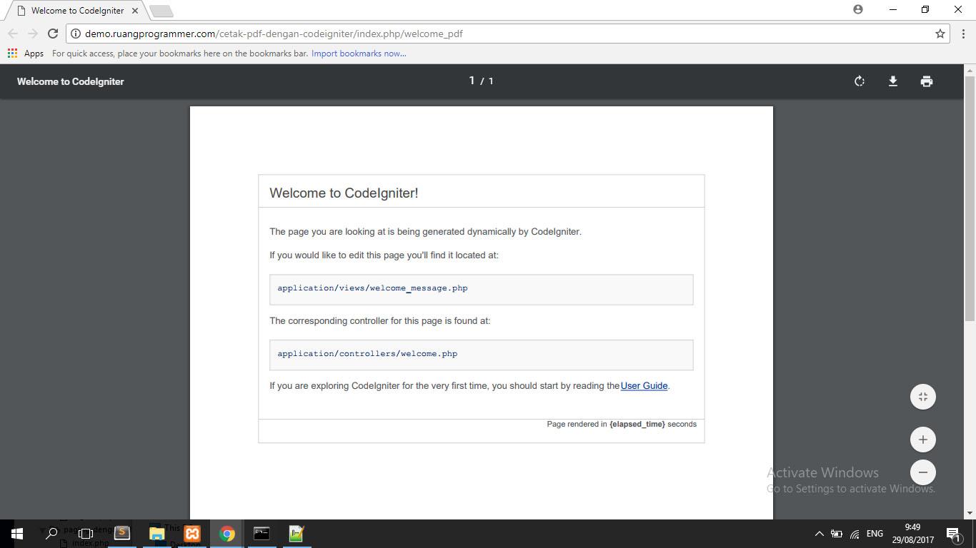 cara mencetak pdf dengan codeigniter