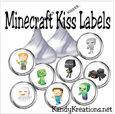 Create an amazing Minecraft birthday party with these sweet kiss labels that you can print and make at home.  I just love how fun these labels make our favorite characters.