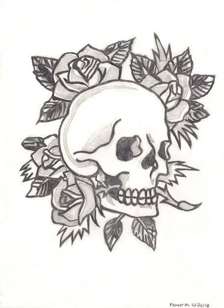 Drawingsofheartsandskullspicturesketchesof  Ed Hardyskullspaper  Craftingbones