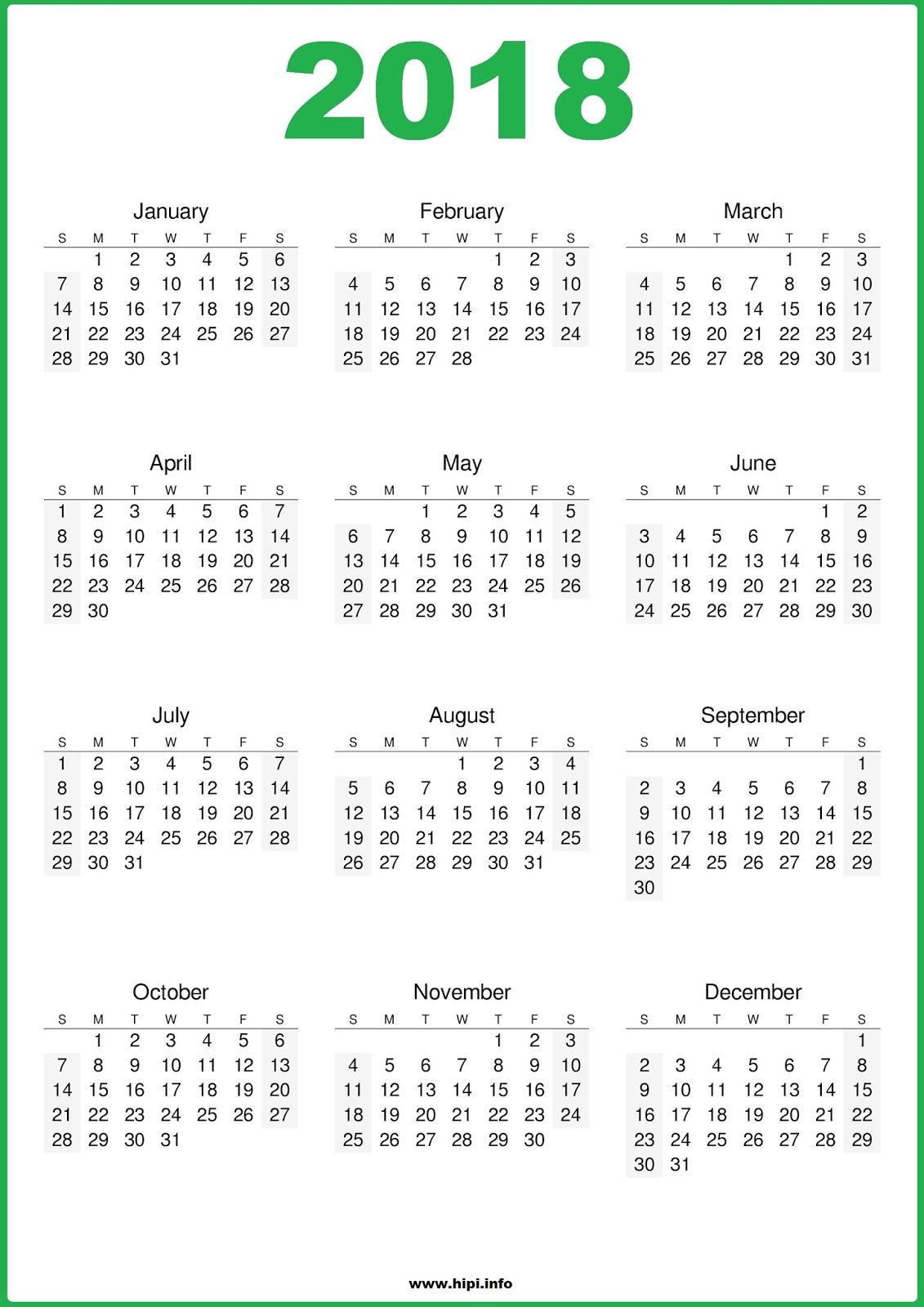 free calendar printables 2018