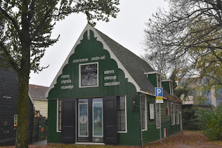 Maternity care clinic with picture of stork in the window, Zaandam, The Netherlands