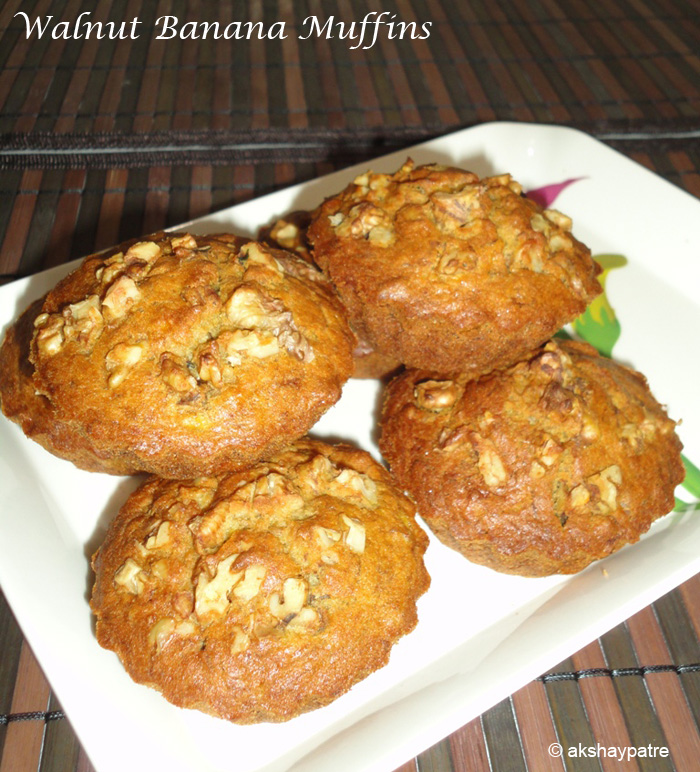 Walnut banana muffins in a serving plate