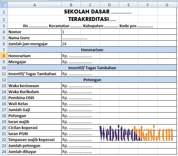 Contoh Slip Gaji Guru Format Excel Terbaru 2018
