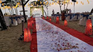 aisle decor beach wedding with hanging lights