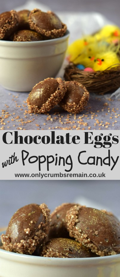 These Chocolate Mini Eggs with Popping Candy centres are a fun treat for the Easter celebrations.  They're made with tempered chocolate and decorated with gold sugar sprinkles and edible gold glitter for extra fun.