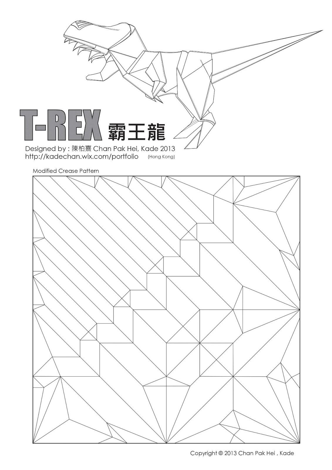 Origami T Rex Diagram