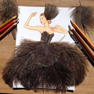 رسمة للفنان إيدجر باستخدام الريش الاسود