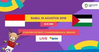 Jadwal Indonesia vs Palestina -  Asian Games 2018. Siaran Langsung SCTV