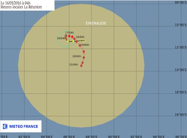Trajectoire et intensité de la tempête tropicale Emeraude