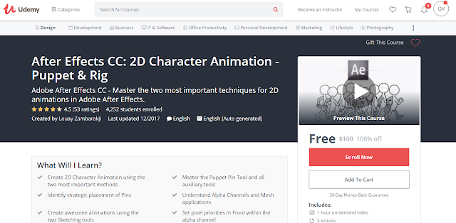 After Effects CC: 2D Character Animation - Puppet & Rig-Udemy Free (100%)