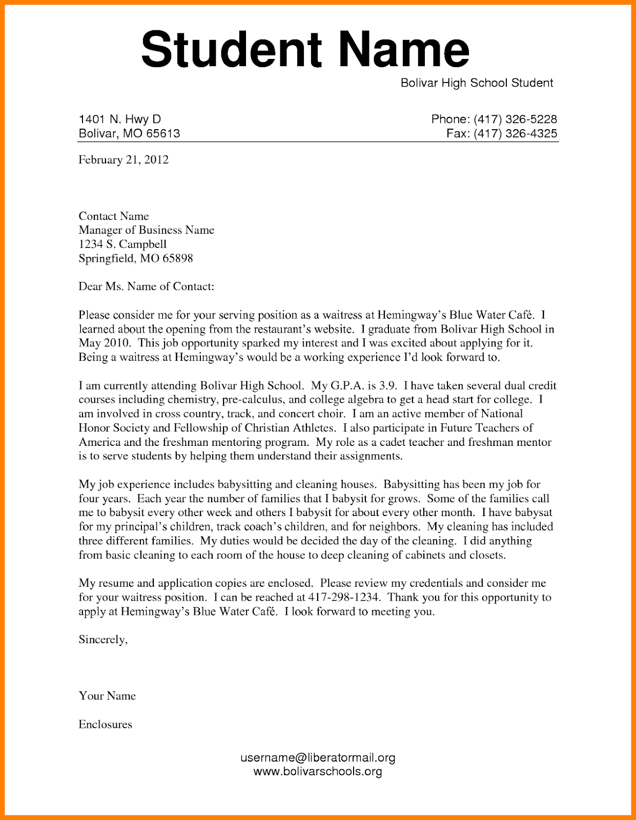 Cover Letter For High School Student First Job