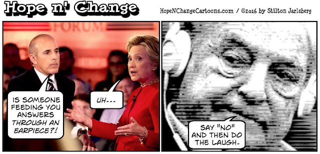 obama, obama jokes, political, humor, cartoon, conservative, hope n' change, hope and change, stilton jarlsberg, hillary, earpiece, radio, lauer