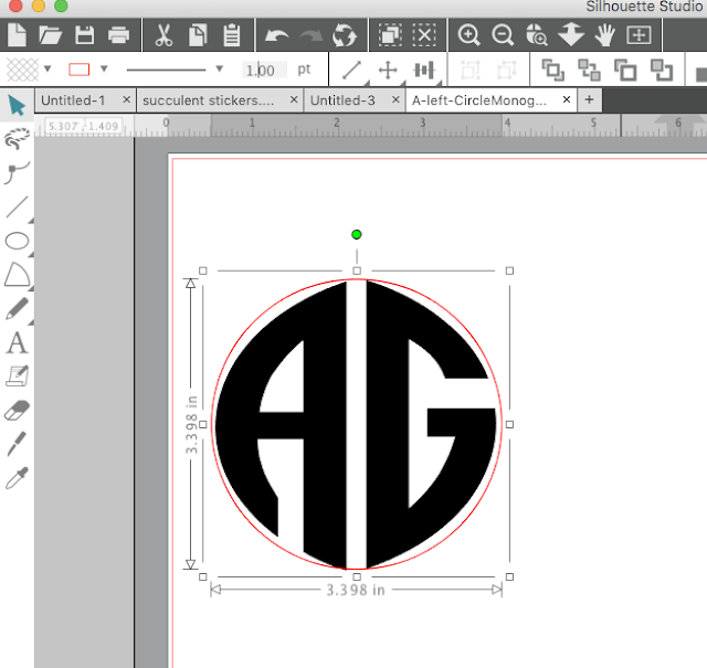 Monogram tutorial, silhouette monogram, monogram fonts for Silhouette, make a circle monogram, silhouette cameo monogram