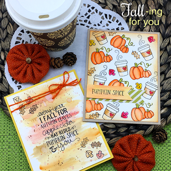 Fall coffee & Pumpkin spice cards by Jenifer Jackson | Fall-ing For You Stamp set by Newton's Nook Designs #newtonsnook #pumpkinspice #coffee