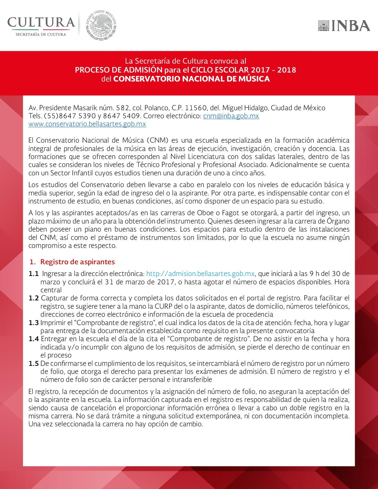 Convocatoria conservatorio nacional de m sica for Conservatorio de musica