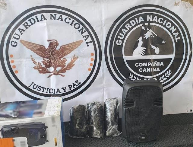 GUARDIA NACIONAL LOCALIZA TRES PAQUETES DE APARENTE MARIHUANA DENTRO DE UNA BOCINA PORTÁTIL