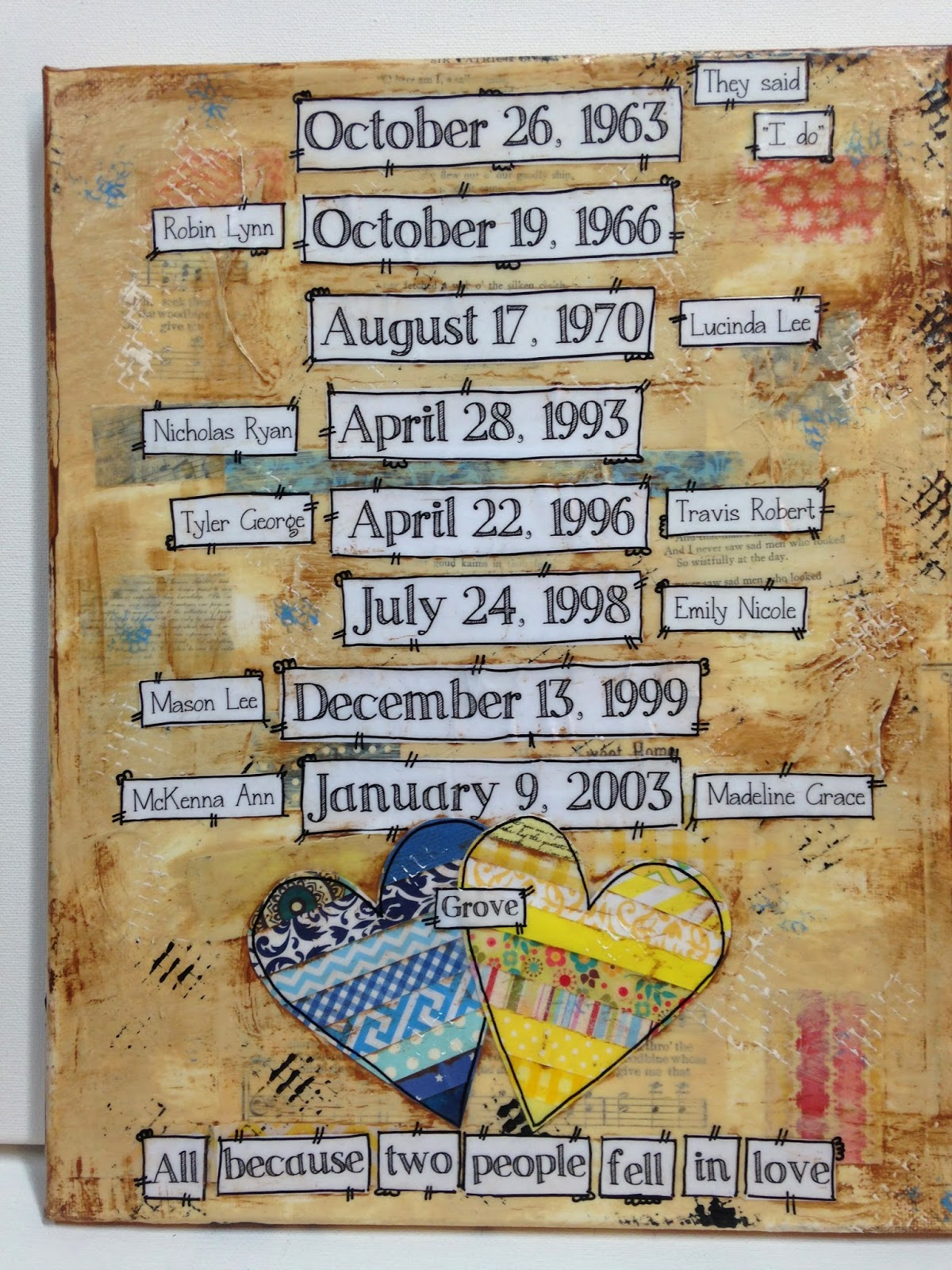 date sign, hand painted date sign, grandchildren, grandparents