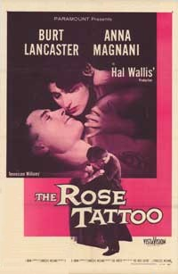 The original movie poster for the film  of the Tennessee Williams play, The Rose Tattoo.