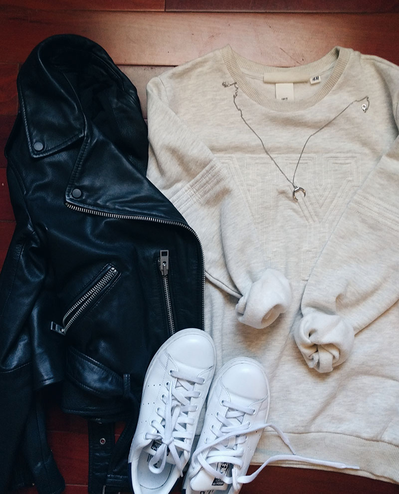 all saints leather jacket hm sweatshirt adidas sta smith