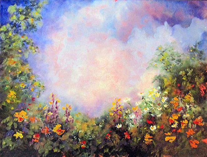 enchanted garden original oil painting by marina petro - Enchanted Garden