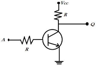 Rangkaian gerbang NOT dengan transistor