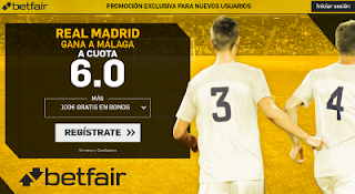 betfair supercuota victoria del Real Madrid al Málaga 25 noviembre
