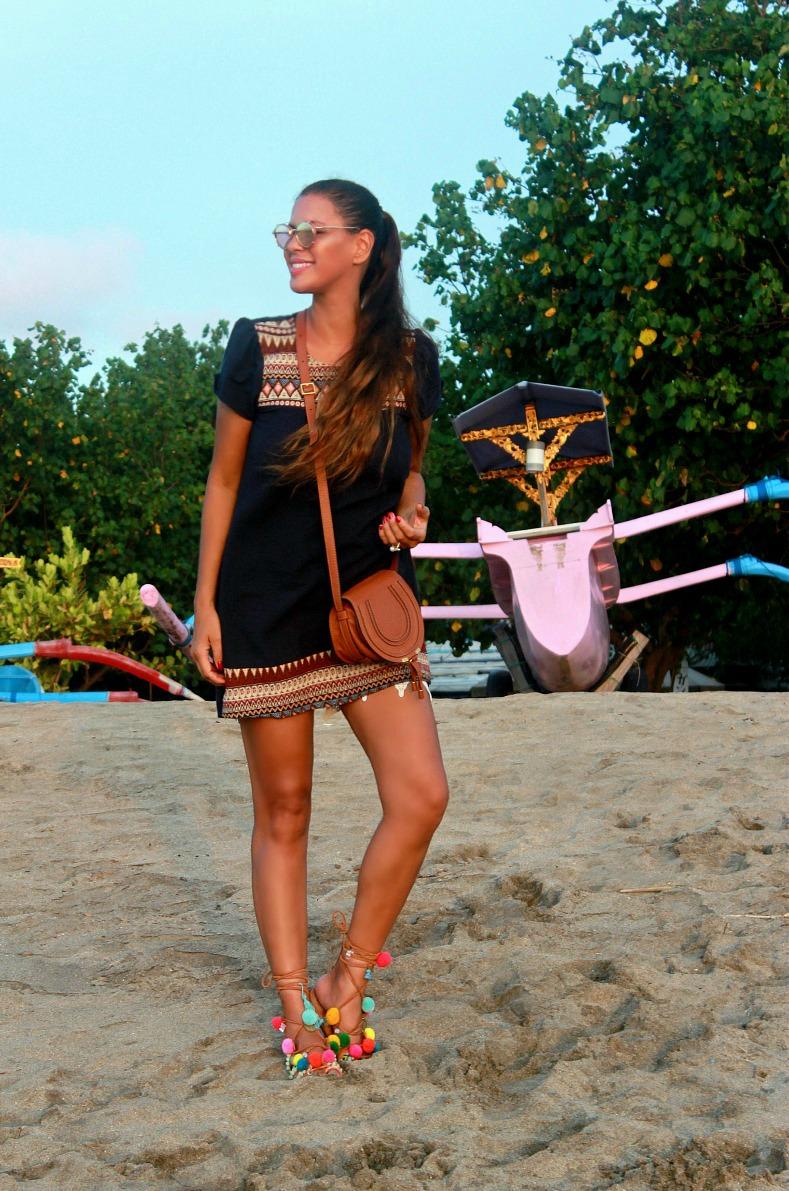 Tamara Chloé, Chloé Bag, Mini Marcie tan, Mabu By Maria BK pompom sandals, Bali, Kuta beach