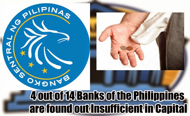 4 out of 14 Banks of the Philippines are found out Insufficient in Capital