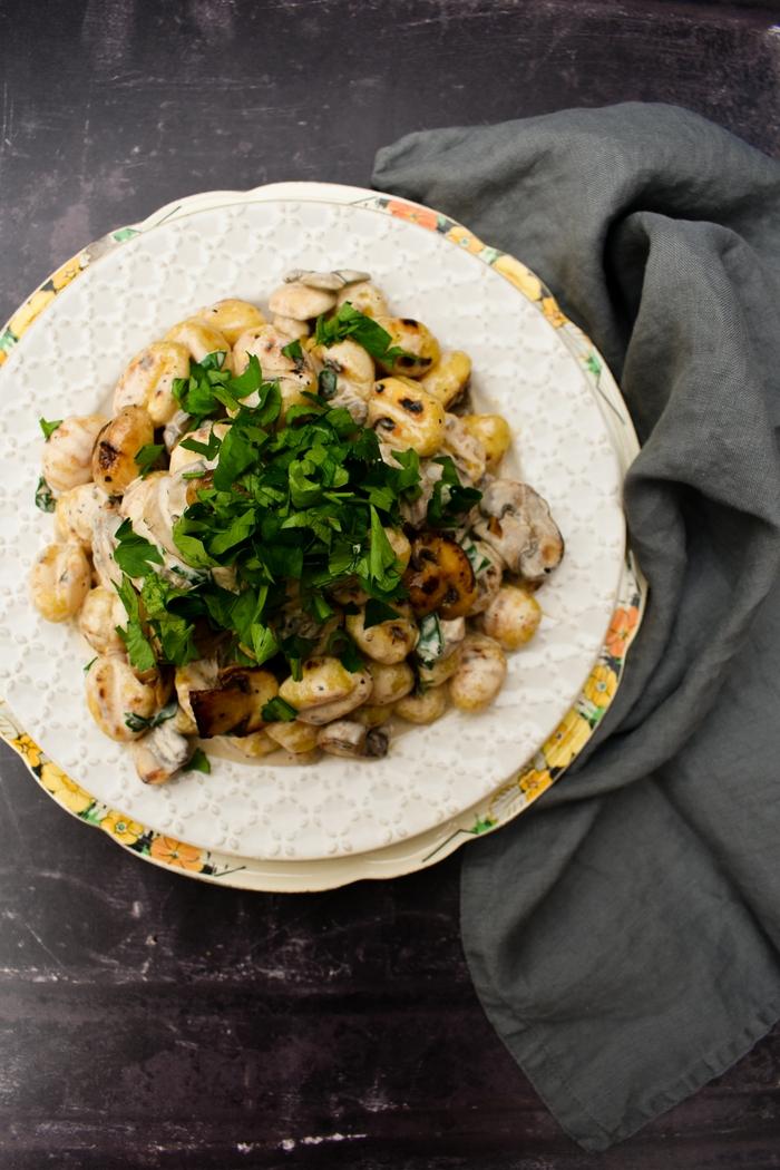 Creamy Garlic Mushroom & Herb Gnocchi (vegan recipe)