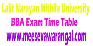 Lalit Narayan Mithila University BBA II Part Hons -2016 Exam Time Table