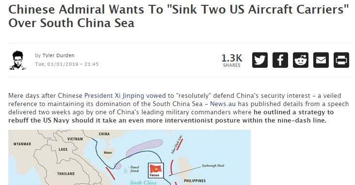 Κινέζος αντιναύαρχος: Μόνο εάν βυθίσουμε δύο αμερικανικά αεροπλανοφόρα οι ΗΠΑ θα υποχωρήσουν