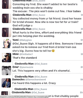 Osi suave also lends his voice to why removing chubby girls from the bridal train is not a ideal move