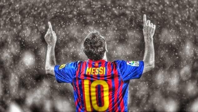 Leo Messi haciendo su típico gesto: una dedicatoria a su abuela fallecida. Foto: Flickr