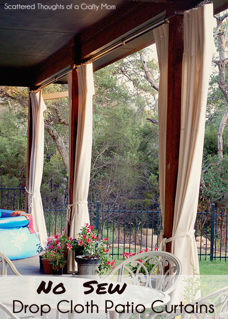 No Sew Drop Cloth Patio Curtains | Scattered Thoughts of a ...