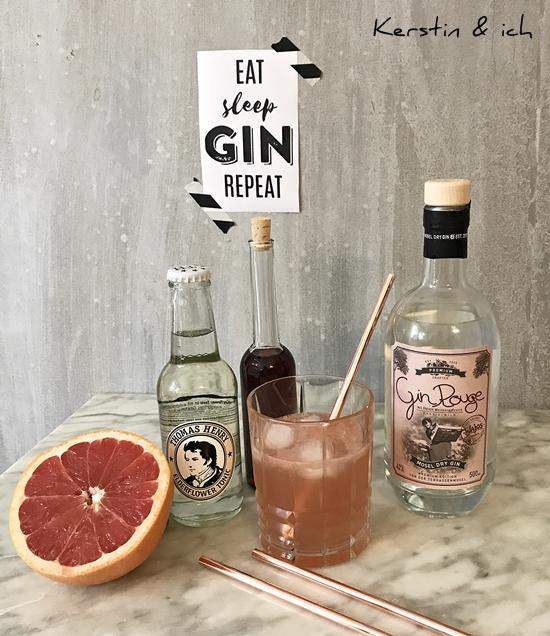 Cocktail mit Gin Rouge, Grapefruit und Tonic Water, Kupfer-Strohhalm