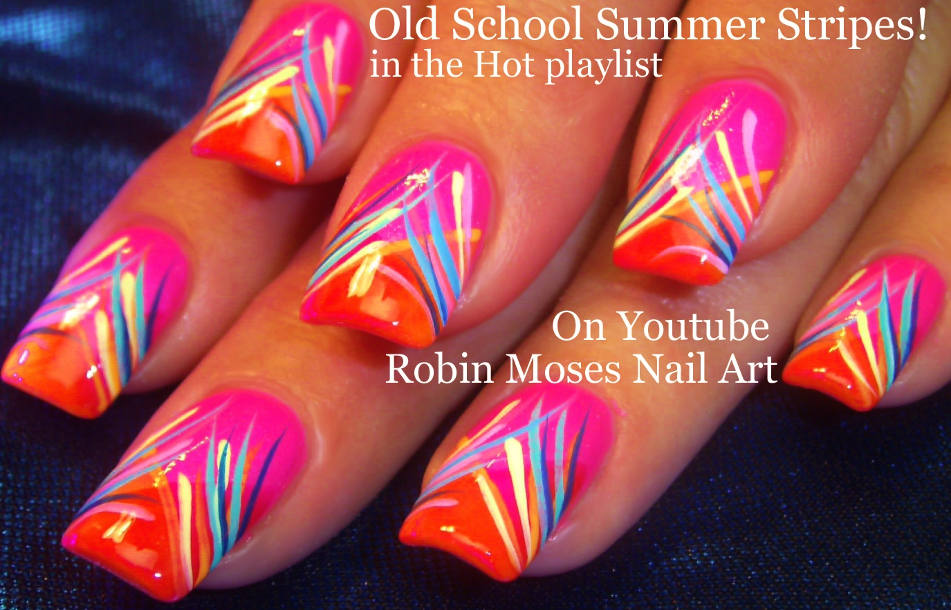 Nail Art By Robin Moses Neon Striped Nail Art Design Tutorial Up