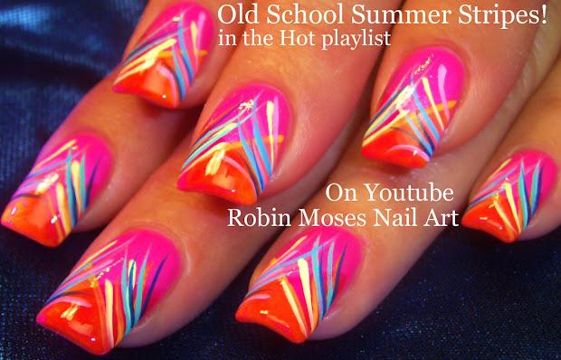 nail art robin moses neon striped