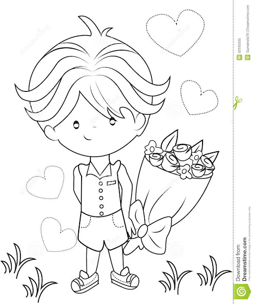 Boy With Bouquet Of Flowers Coloring Page