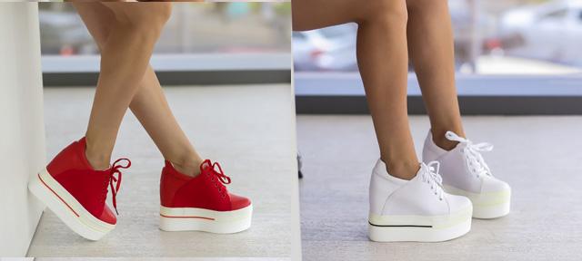Pantofi sport cu platforma ascunsa la moda ieftini albi, rosii de vara toamna