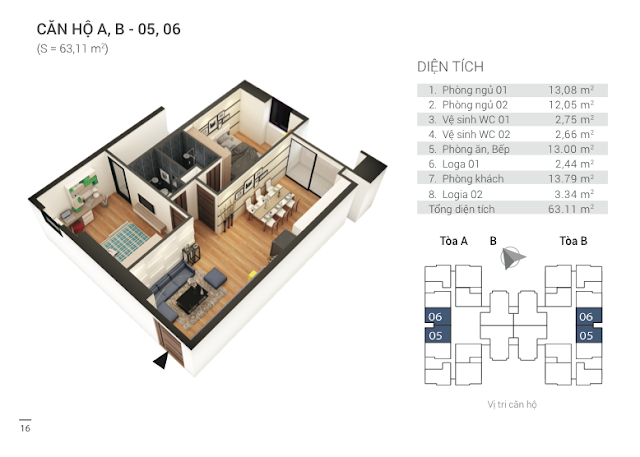 Thiết kế căn hộ 05, 06 chung cư Tứ Hiệp Plaza