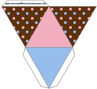 Pink and Light Blue Polka Dots in Chocolate Free Printable Pyramid Box.
